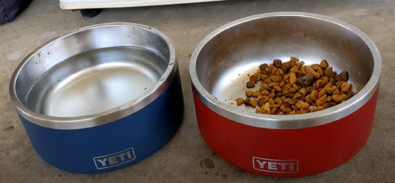 navy blue and brick red Yeti boomer dog bowls
